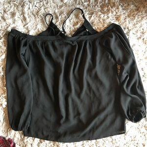 Tops - Black off the shoulder Shirt